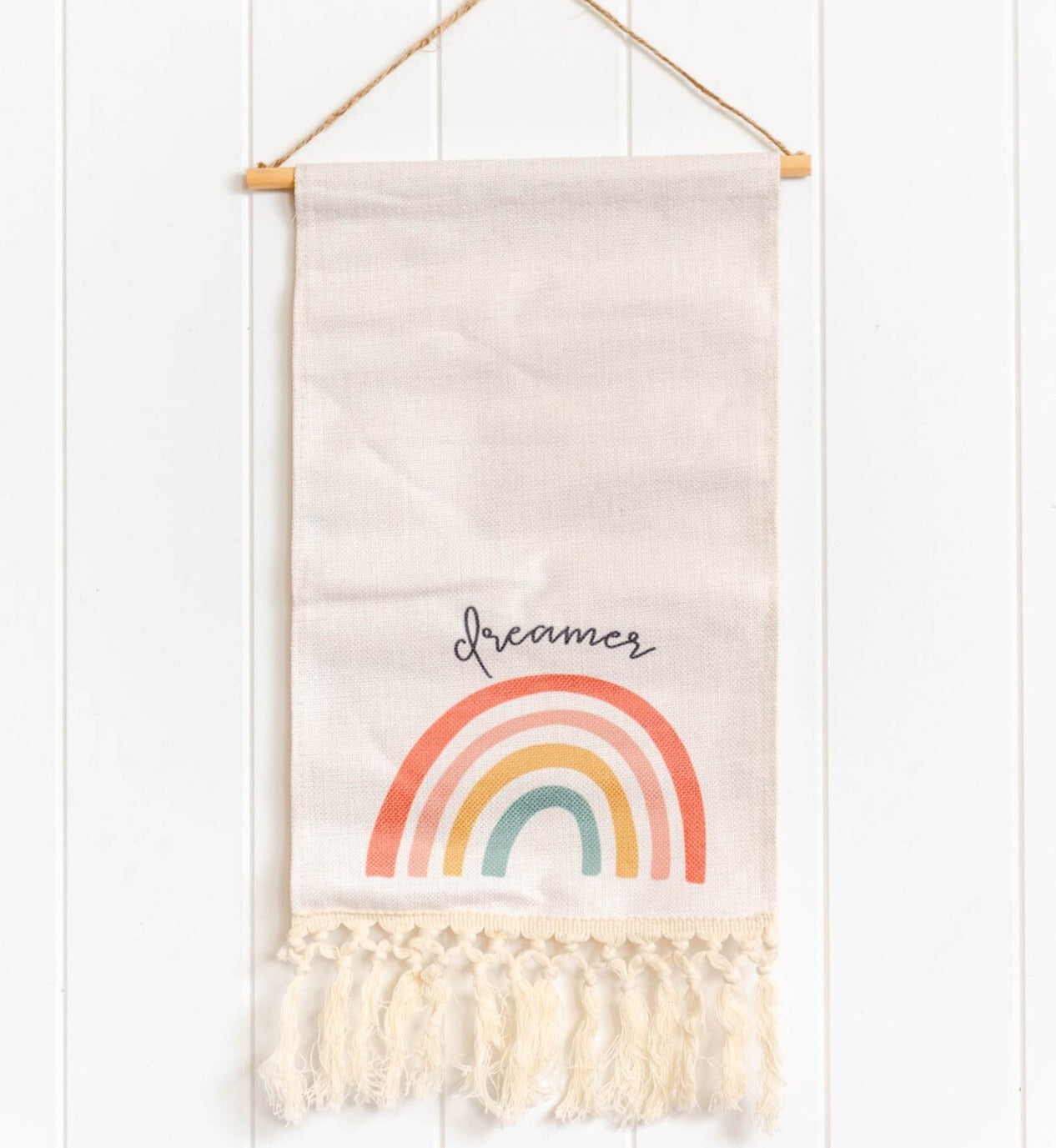Dreamer rainbow macrame scroll banner