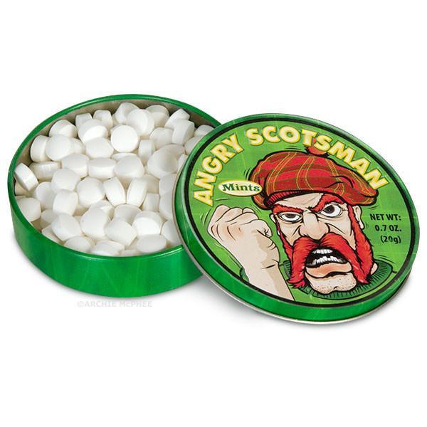 Angry Scotsman Mints in a novelty tin
