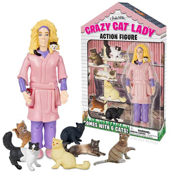 Crazy cat lady statue toy set