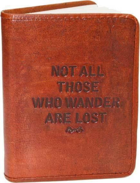 Not all who wander are lost leather journal notebook