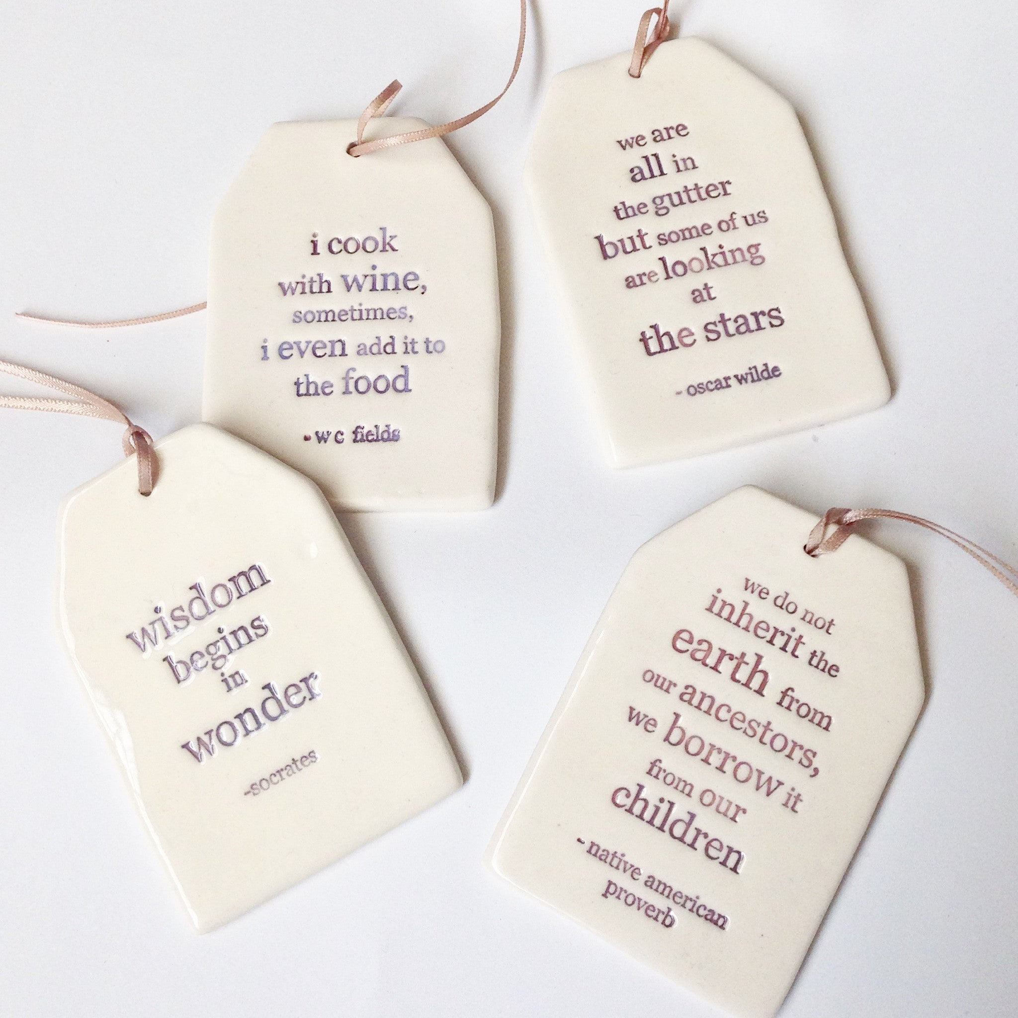 Ceramic hand made quote gift tag ornament - Six Things