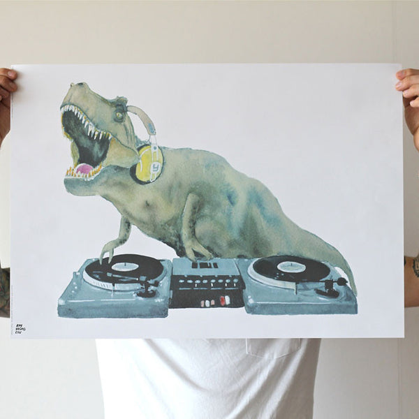 Dj hip hop trex dinosaur poster - Six Things