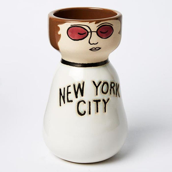 John Lennon / Beatles hand painted vase planter pot