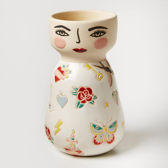Tattooed lady hand painted vase planter pot - preorder