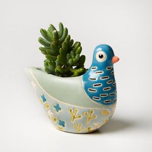 Blue bird hand painted vase planter pot