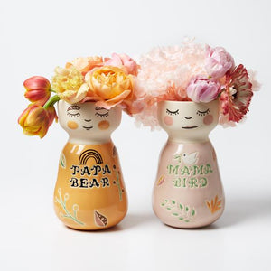 Mama bird / Papa bear hand painted face vase planter pot