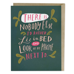Lie next to on phone greeting card
