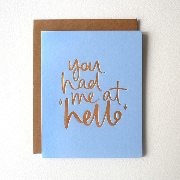 Hello letterpress greeting card - Six Things