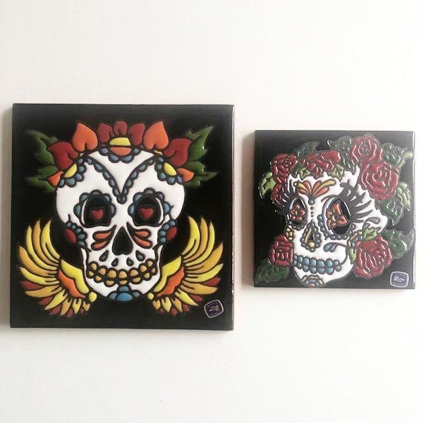 Day of the dead handmade flower crown tile wall hanging