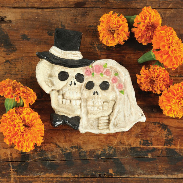 Cast iron day of the dead skull wedding couple vintage coin dish