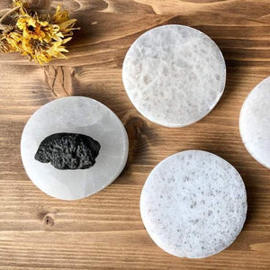 Selenite crystal coaster / charging round plate