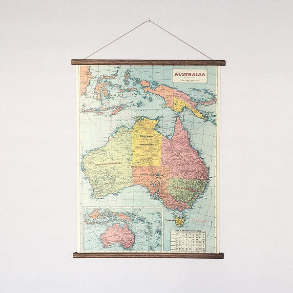 Australia vintage map chart poster print wall hanging