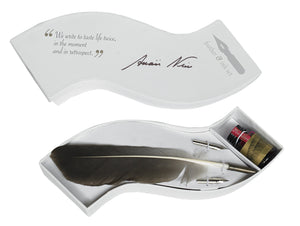 Feather dip fountain wooden pen, quill & ink set