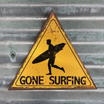 Load image into Gallery viewer, Gone surfing hanging wall tin sign