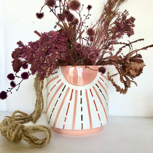Sunshine dusty pink hanging planter pot