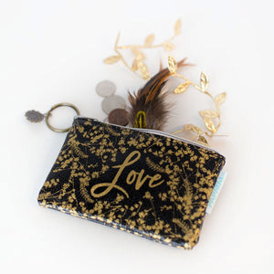 LOVE black gold coin purse