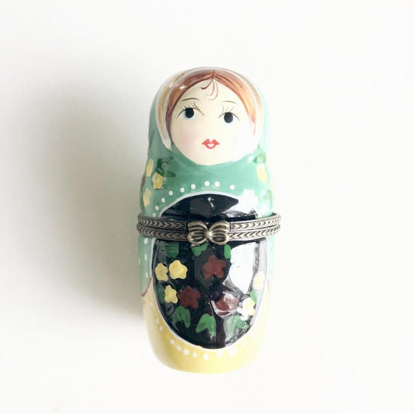 Hand painted babushka doll vintage trinket box