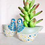 Load image into Gallery viewer, Blue bird hand painted vase planter pot