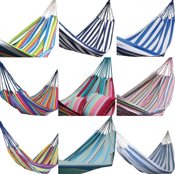 Bohemian tropical 100% cotton striped double / two person hammock