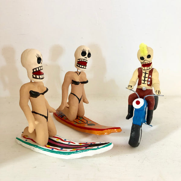 Day of the dead Mexican clay handmade statue - surfer chick