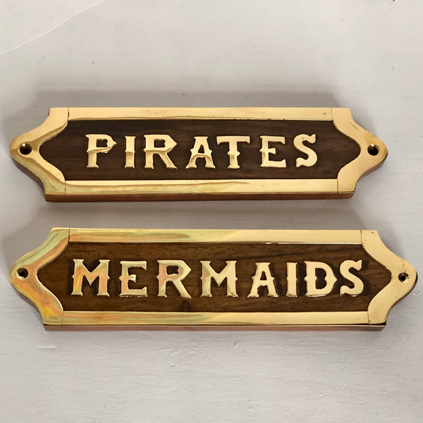 Wood and brass plaque sign - mermaids / pirates
