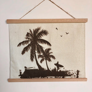 Palm tree linen wood hanging print