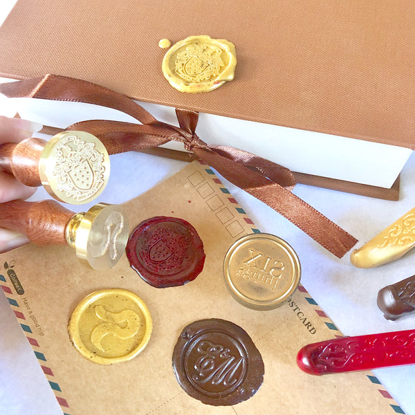 Custom made wax seal - business logo or wedding monogram - wooden brass sealing stamp