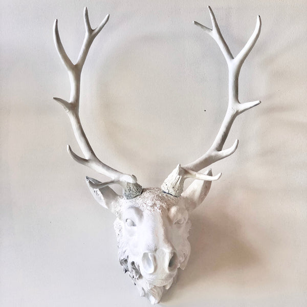 Large WHITE stag / deer head antler mounted wall hanging