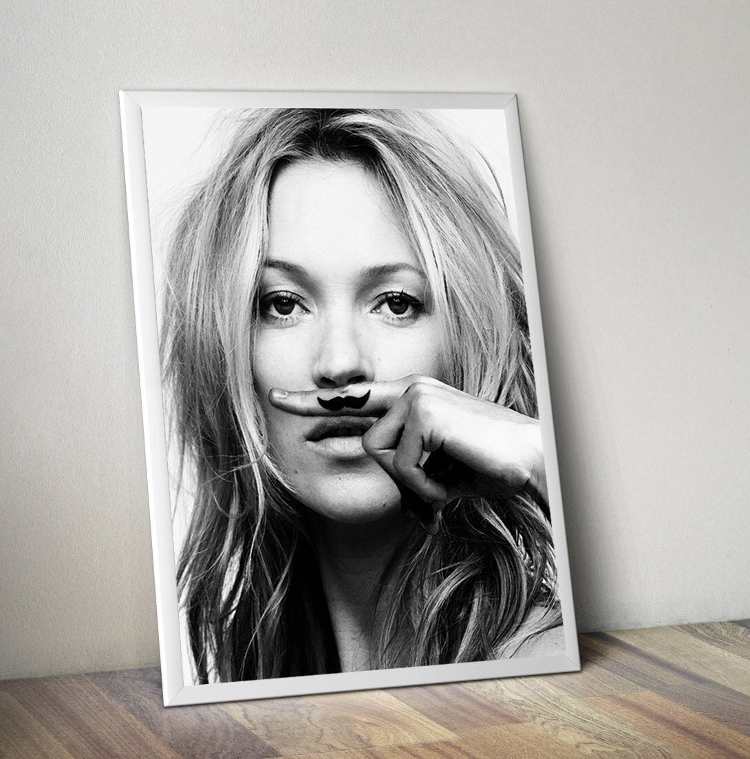 Kate Moss moustache Life is a joke canvas poster print