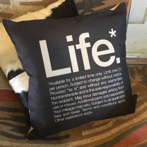 Life inspirational monochrome cushion cover