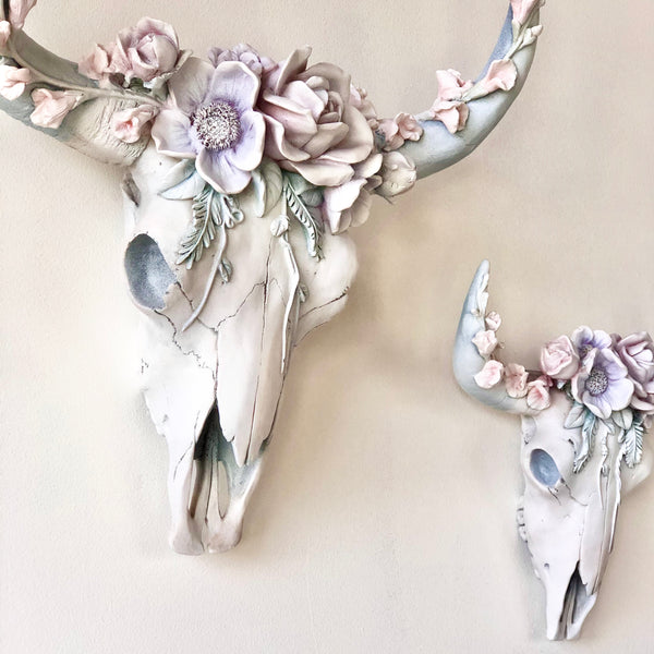 Bohemian flower crown cow / bull skull wall hanging