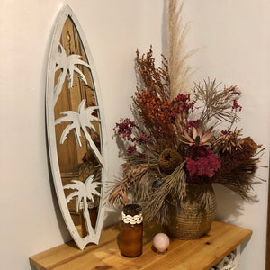 Metal surfboard palm trees mirror wall hanging