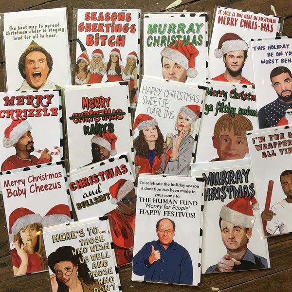 Pop culture naughty fun Christmas / xmas greeting card - various