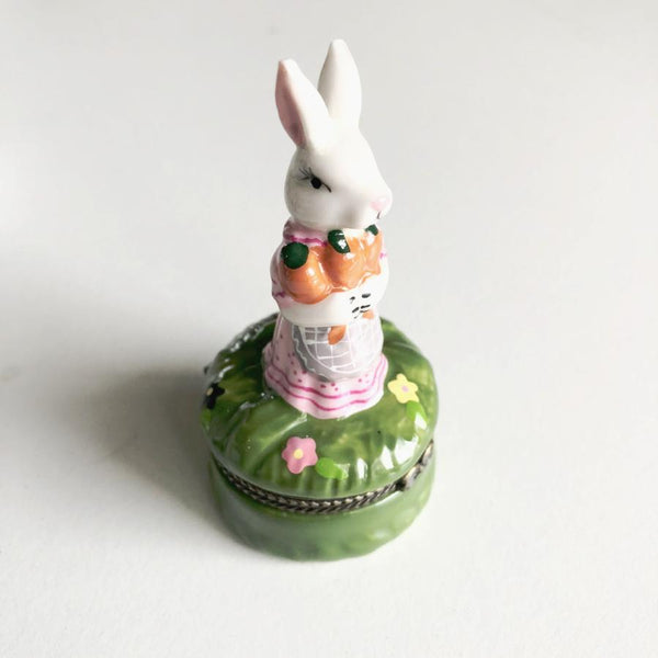 Hand painted easter bunny vintage trinket box