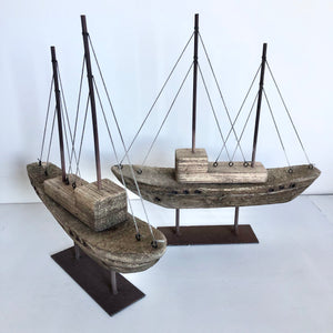 Antique Hamptons coastal decor boat statue