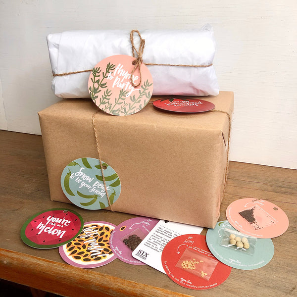Seed gift tag & brown paper / tissue paper - wrapping service