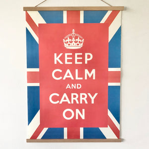 Union Jack keep calm poster print wooden chart