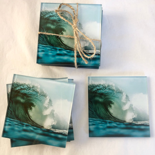 Surf ocean glass coaster set 6