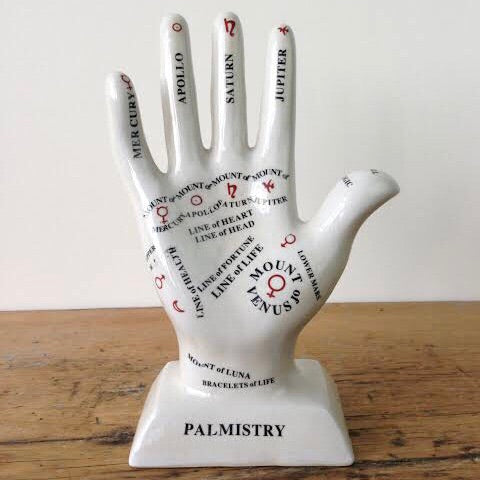 Palmistry vintage curio hand statue - large