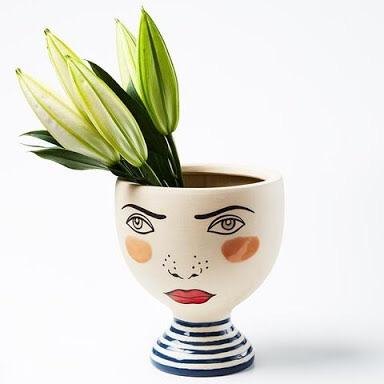 Off with your head Alice wonderland hand painted face vase planter pot