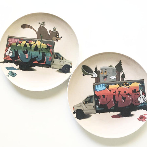 Street art Dabs & Myla plate / round print wall hanging
