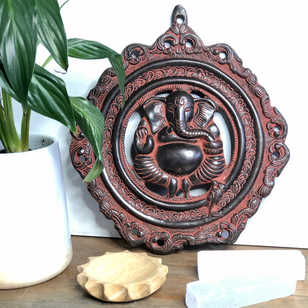 Brass Ganesha mask good fortune metal wall plate hanging