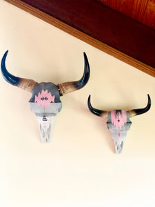 Hand painted Tribal buffalo / cow / bull skull wall hanging