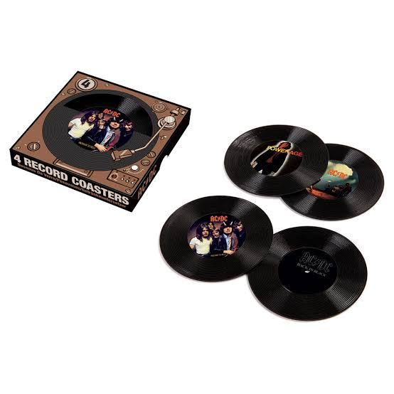 ACDC music LP record coaster set