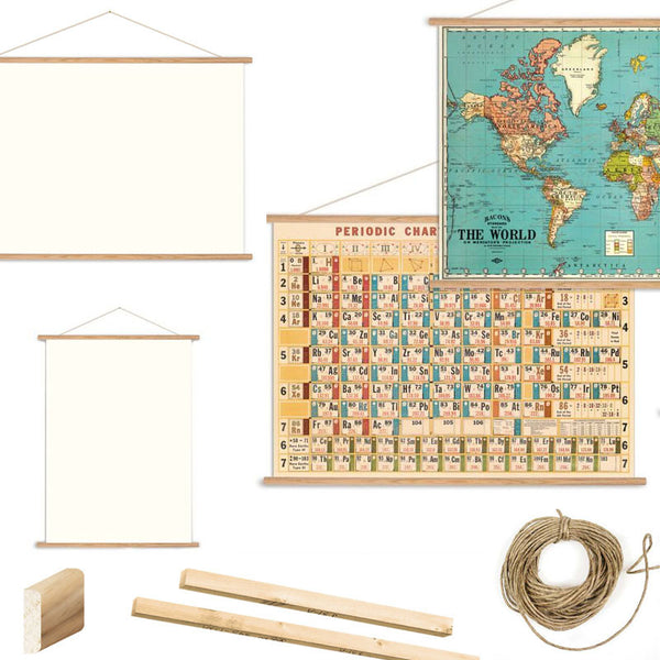 Vintage poster kit  - Timber poster / chart / map hanger - Six Things - 1
