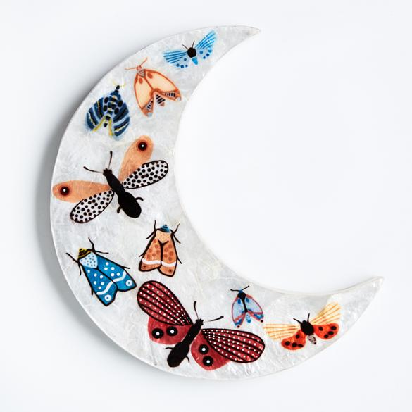 Butterfly moon hand painted shell tile wall hanging