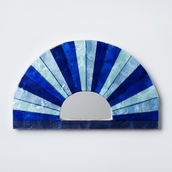 Blue rainbow mirror hand painted shell tile wall hanging