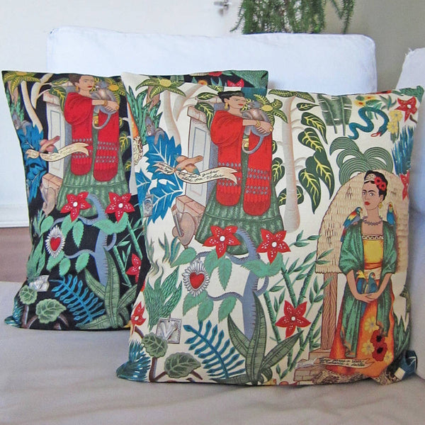 Kantha Frida jungle print cushion with insert