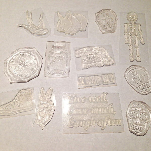 Curious hand cut rubber stamp - Six Things - 3