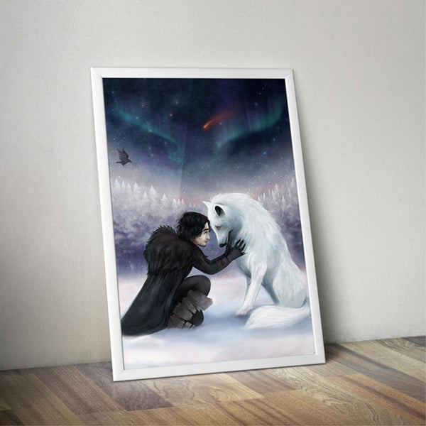 GOT TV Jon snow & wolf poster print